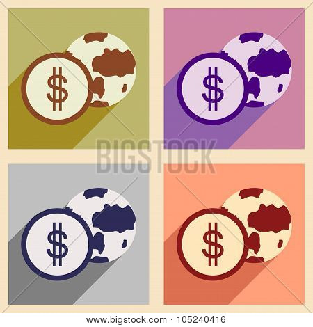 Modern flat icons vector collection with shadow Globe and coin