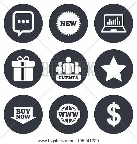 Online shopping, e-commerce and business icons.