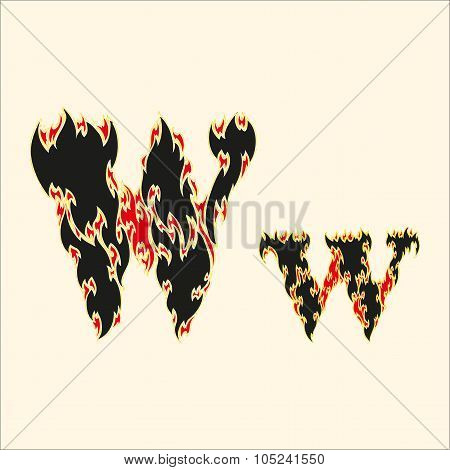 Fiery font Letter W Illustration on white background