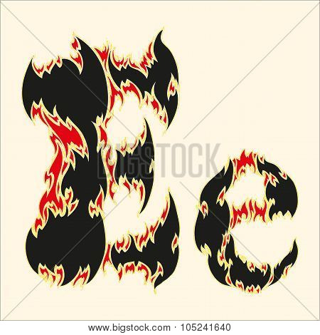 Fiery font Letter E Illustration on white background