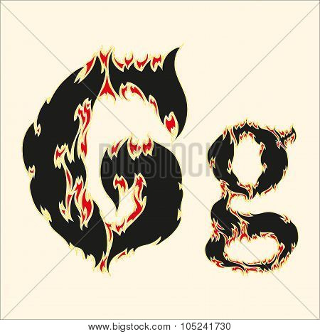 Fiery font Letter G Illustration on white background