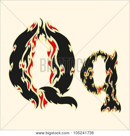Fiery font Letter Q  Illustration on white background