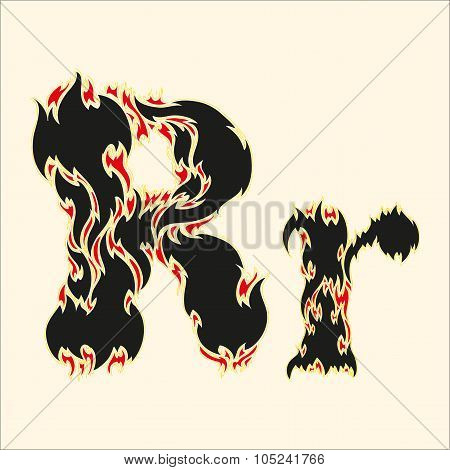Fiery font Letter R Illustration on white background