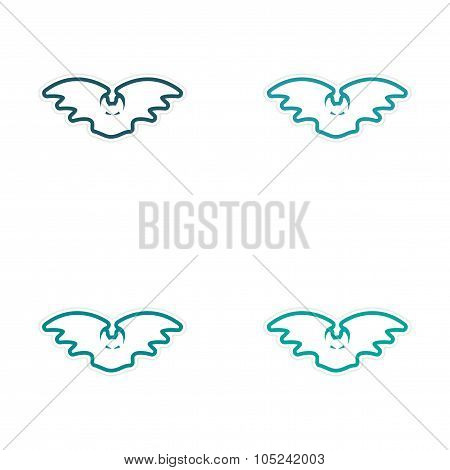 Sticker assembly Bright silhouette of a bat on white background