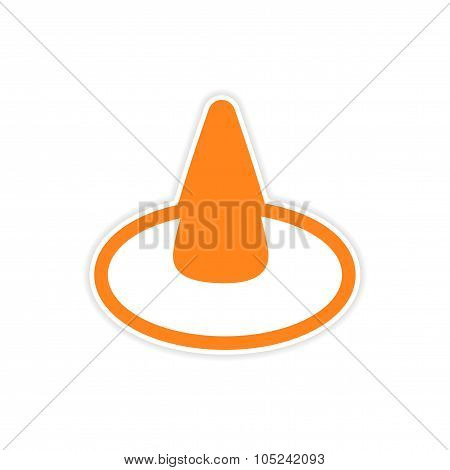sticker colorful witch hat on a white background