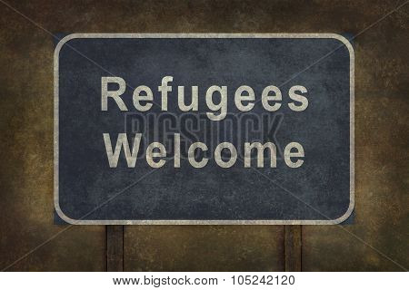 Refugees Welcome Roadside Sign Illustration
