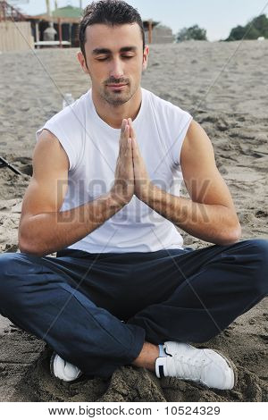 Man Yoga Beach