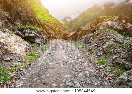 Beautiful landscape with rural road in mountains, Annapurna area, Nepal