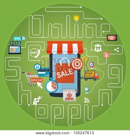 Online Shopping Marketing Advertising Concept Background