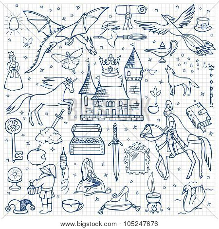 Hand drawn doodle fairy tale set