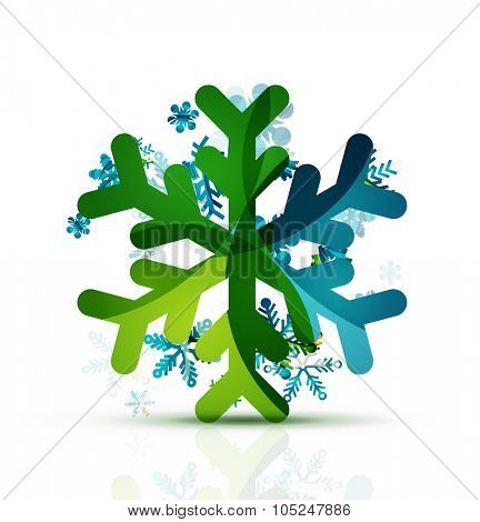Christmas decorated modern snowflake icon. Holiday concept