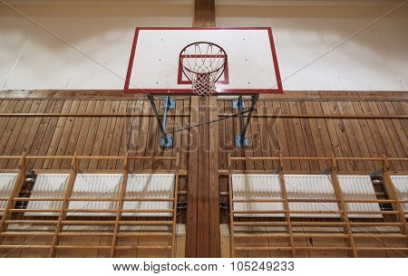 Old basketball hoop in an old gymnasium