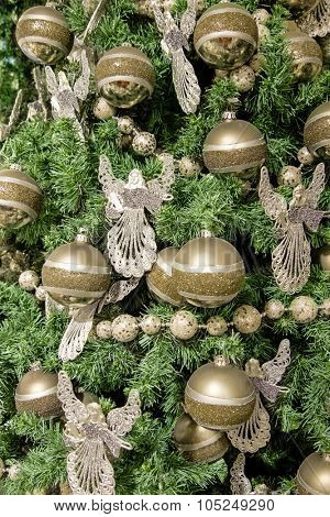 Ornaments on a christmas tree close-up