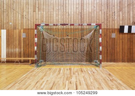Soccer goalpost in old gym hall