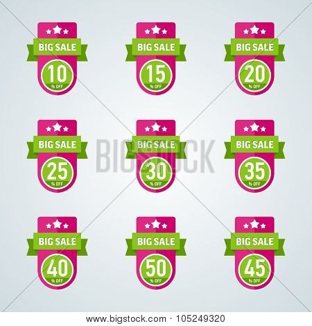 Set of big sale 10-50 percent pink badge with green ribbon. Vector illustration.