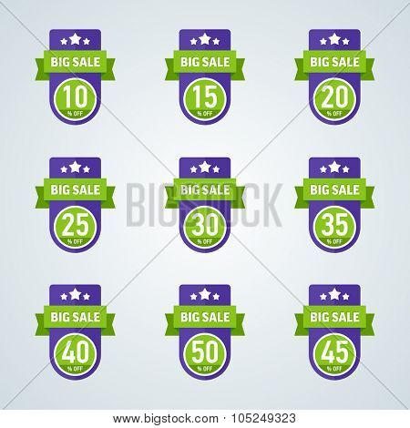 Set of big sale 10-50 percent purple badge with green ribbon. Vector illustration.