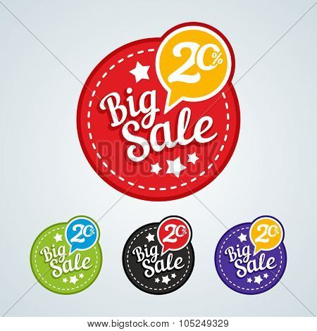 Big sale of 20 percent of the round label. Vector illustration in different colors.