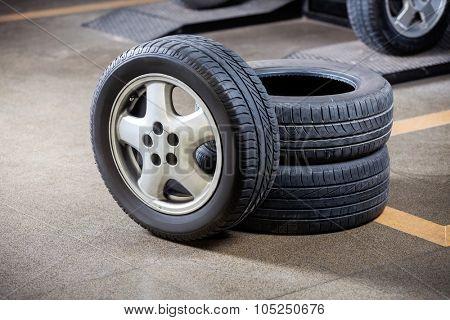 Rubber tires at auto repair shop