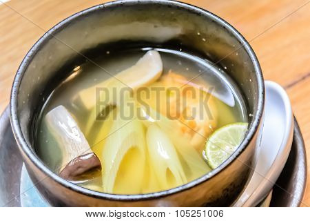 Yakifugu To Namanori Soup Shitate Grilled Puffer Fish And Fresh Seaweed Soup With Grilled Mushroom,