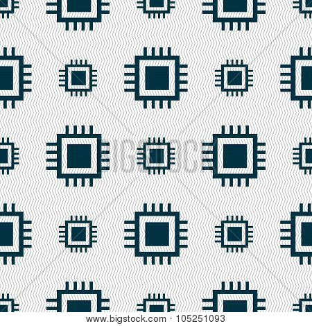 Central Processing Unit Icon. Technology Scheme Circle Symbol. Seamless Abstract Background With Geo