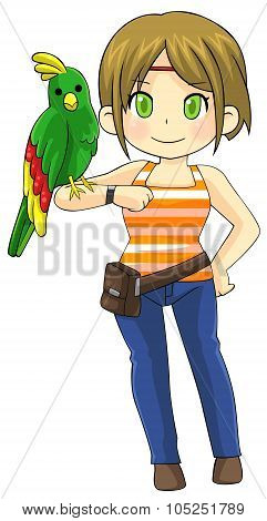 Cute Animal Trainer Girl Is Making A Tame Parrot Pet Bird Stand On Her Arm, Create By Cartoon Vector