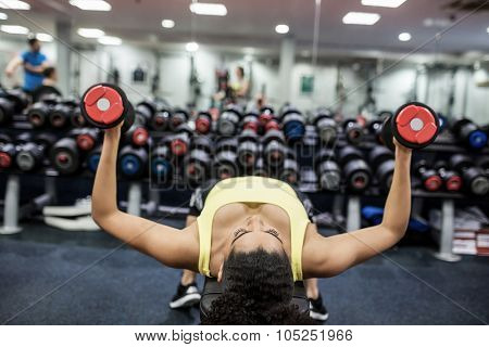 Fit woman working out in weights room at the gym