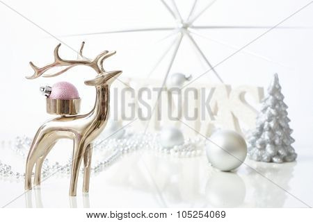 Stylish christmas decoration with reindeer.