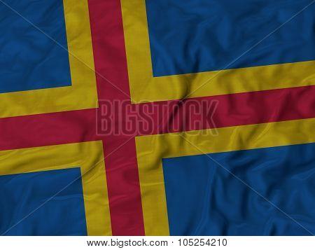 Closeup of ruffled Aland flag