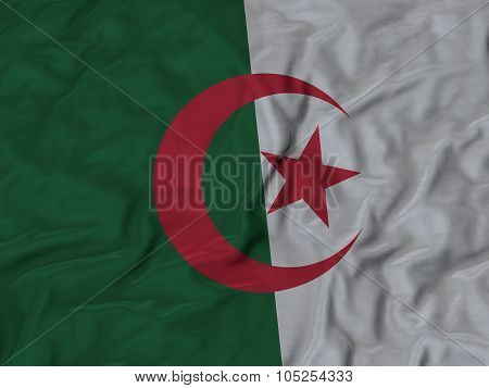 Closeup of ruffled Algeria flag