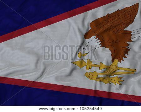 Closeup of ruffled American_Samoa flag