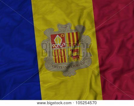 Closeup of ruffled Andorra flag