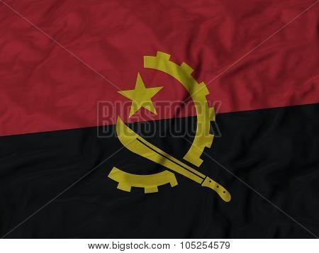 Closeup of ruffled Angola flag