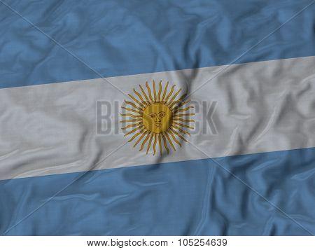 Closeup of ruffled Argentina flag