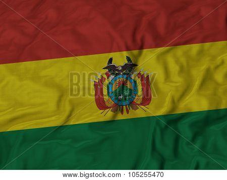 Closeup of ruffled Bolivia flag