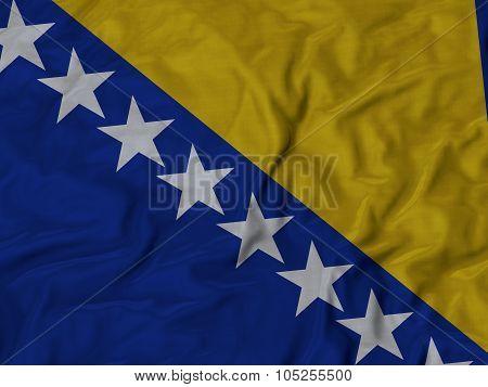 Closeup of ruffled Bosnia and Herzegovina flag