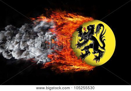 Flag With A Trail Of Fire - Flanders