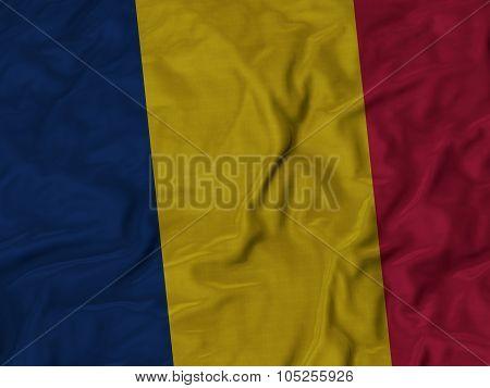 Closeup of ruffled Chad flag