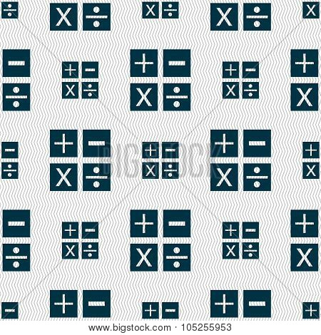 Multiplication, Division, Plus, Minus Icon Math Symbol Mathematics. Seamless Abstract Background