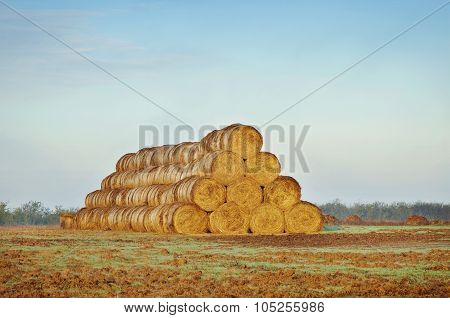 Farm Scenery With Haystack