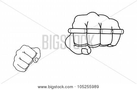 Clenched fists holding brass-knuckle. Punch. Contour
