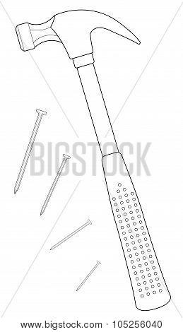 Claw hammer contour illustration