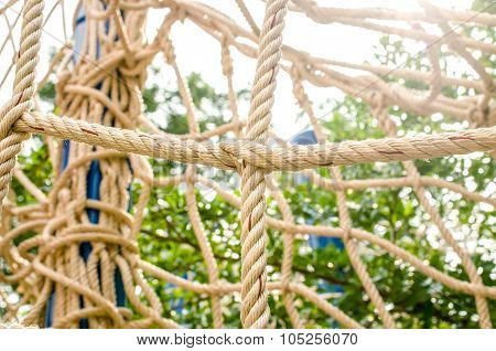 Rope And Knot On Sunrise Background