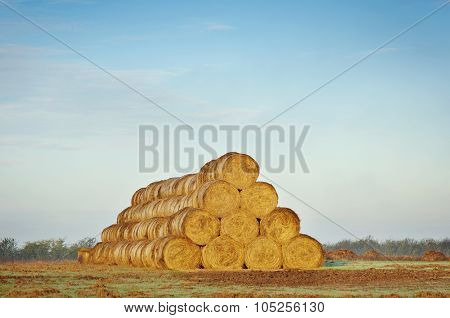 Beautiful Farm Scenery With Haystacks.