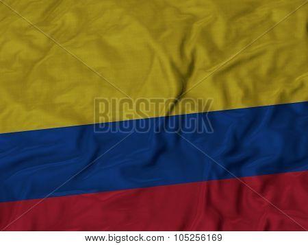 Closeup of ruffled Colombia flag