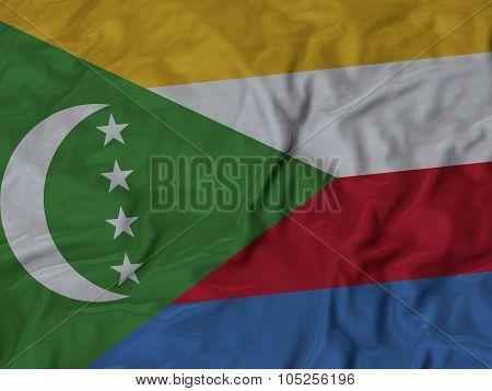 Closeup of ruffled Comoros flag