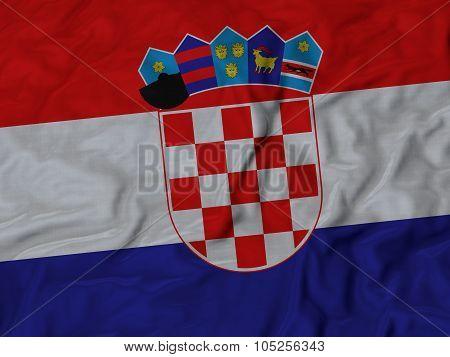 Closeup of ruffled Croatia flag