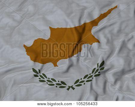Closeup of ruffled Cyprus flag