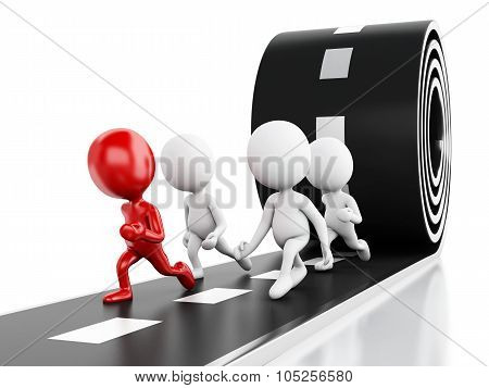 3D People Running With A Red Leader On A Road. Leader Concept