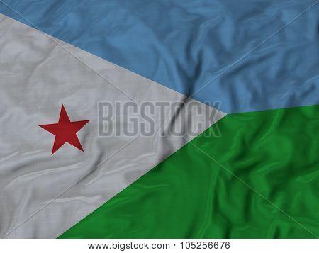 Closeup of ruffled Djibouti flag