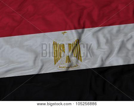 Closeup of ruffled Egypt flag